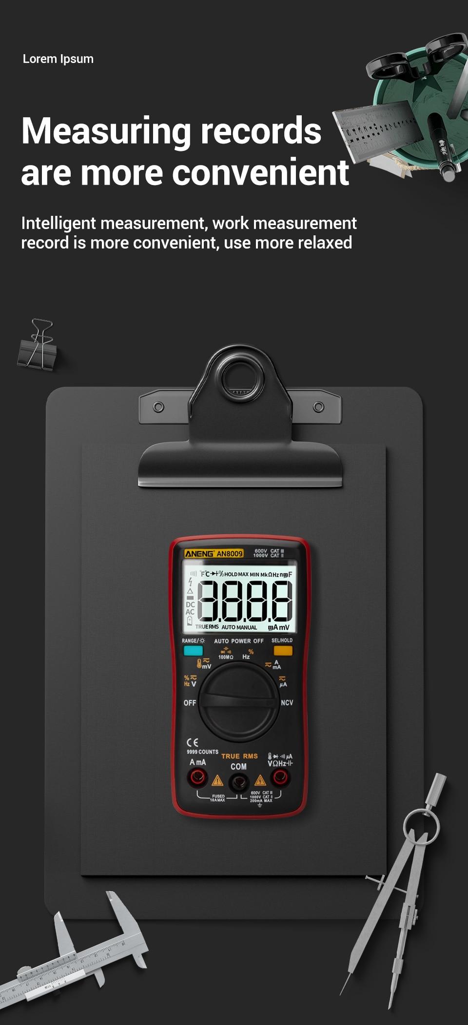 H5cacd15bcf5440cc89b7aa341a8b2b6aR ANENG AN8009 True-RMS Digital Multimeter transistor tester capacitor tester automotive electrical capacitance meter temp diode