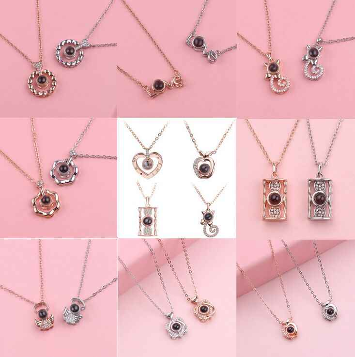 100 languages Projection Necklace For Memory Of LOVE Choker Love necklace