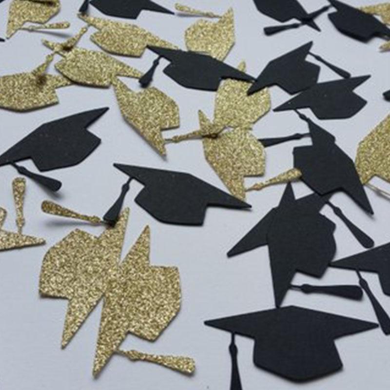 100Pc/Pack Gold Black Bachelor Hat Round Glitter Paper Confetti 3CM Graduation New Year Party Decor Bachelor Cap Grad Congrats