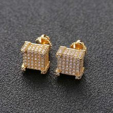 Missfox Mens Anting-Anting Fashion Perhiasan Tindik Korea Vintage AAA Zirkon Bling Gaya Hip Hop Perhiasan Anting-Anting Hadiah Grosir(China)