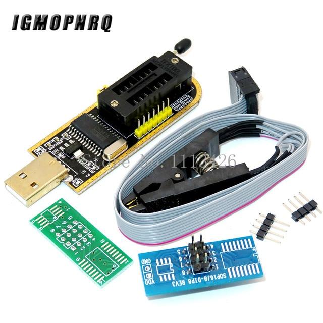 CH341A 24 25 סדרת EEPROM פלאש ה BIOS USB מתכנת מודול + SOIC8 SOP8 מבחן קליפ עבור EEPROM 93CXX / 25CXX / 24CXX