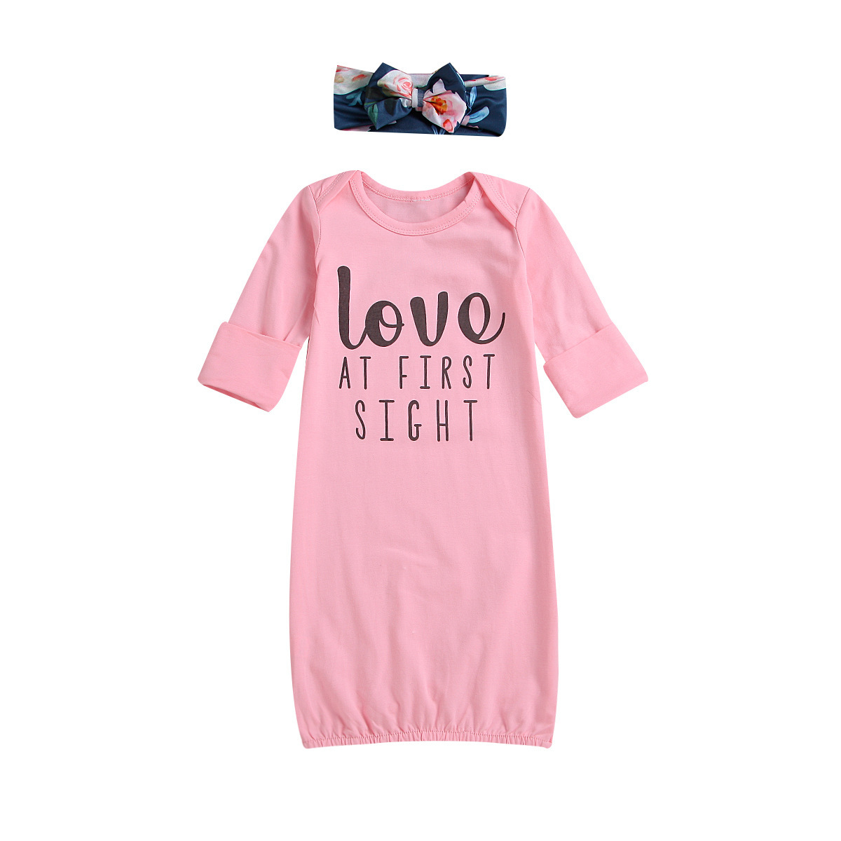 Infants Child Clothing 2019 Spring Europe And America Hot Selling Girls Pure Cotton Lettered Long Sleeve Nightgown Tracksuit