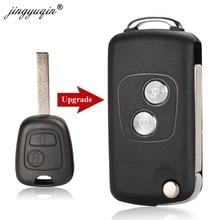 Jingyuqin 20 шт., 2 кнопки, модифицированный флип чехол для ключей для Citroen C1 C2 C3 Xsara Picasso для Peugeot 206 306 307 407 406