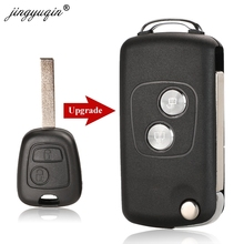 jingyuqin 20pcs 2 Buttons Modified Flip Car Key Case Shell For Citroen C1 C2 C3 Xsara Picasso For Peugeot 206 306 307 407 406