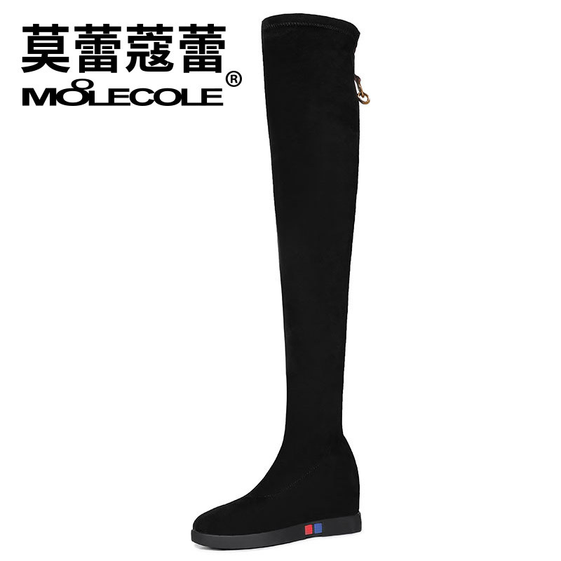 Moolecole 2019 Autumn And Winter New Style Over-the-knee Boots Stretch Boots Inner Height Increase Round-Toe Hose Casual WOMEN'S