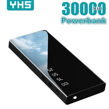 Power Bank 30000mAh Portable Mirror Charger Ultra High Capacity Power Bank 2.1A Output for smart pho