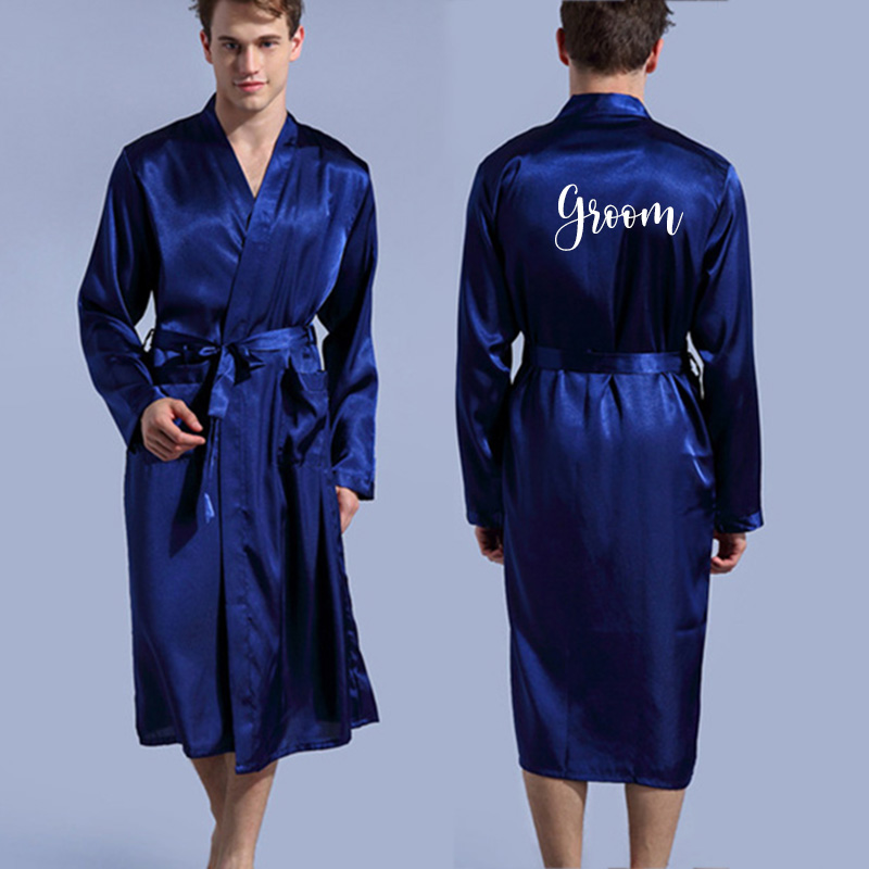 Nightgown Bathrobe Men Kimono Customized Wedding-Party Silk Soft Home for Name And Date title=