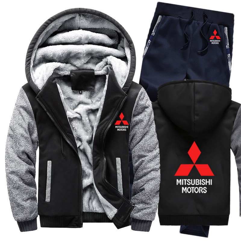 Hoodies Men Mitsubishi Car Logo Mens Hoodies Suit Winter Thicken Warm Fleece Cotton Zipper Tracksuit Mens Jacket+Pants 2Pcs Sets