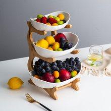 Sala de estar em casa de plástico três camadas placa de frutas lanche criativo moderno frutas secas cesta prato de doces