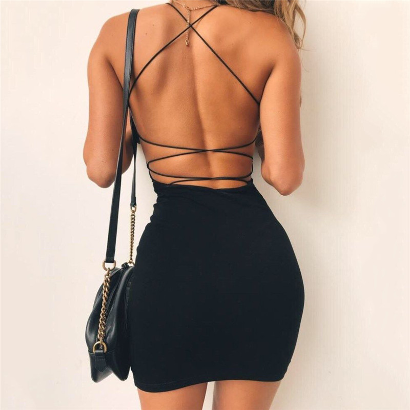 Sexy Black Summer Clothes Women Solid Color Backless Spaghetti Straps Nightclub Dress Bodycon Evening Party Low