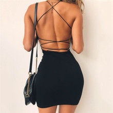Sexy Black Summer Clothes Women Solid Color Backless Spaghetti Straps Nightclub Dress