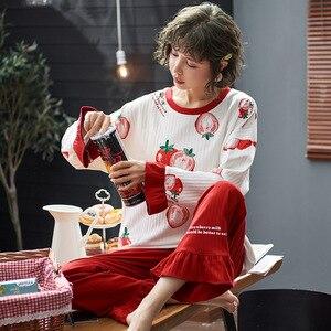 Image 3 - Frauen Kleidung Herbst Winter Pyjamas Sets Nachtwäsche Schöne Pijamas Mujer Langarm Baumwolle Sexy Pyjamas Weibliche Nette Homewear