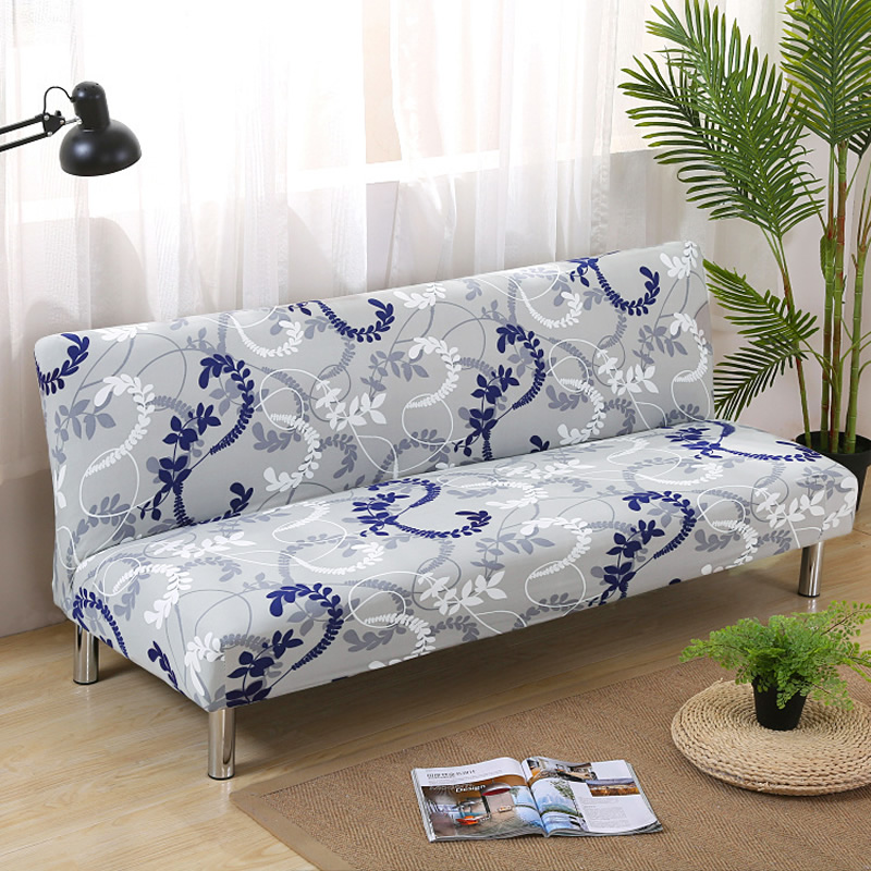 150 215cm Sofa Bed Covers Polyester Armless Printed Foldding Elastic Couch Bench Slipcover for Home Three
