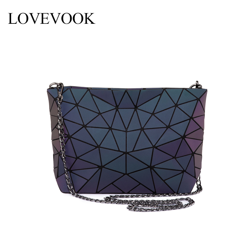 Lovevook Women Shoulder Bags Luxury Designer Foldable Messenger Bag Geometric Luminous Color Crossbody Bag Female For Ladies