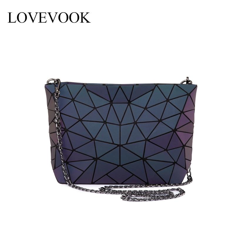 Lovevook Women Shoulder Bags Luxury Designer Foldable Messenger Bag Geometric Luminous Color Crossbody Bag Female For Ladies