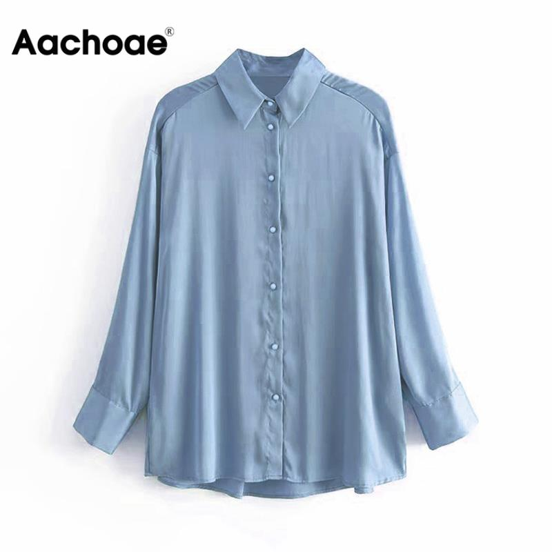 Aachoae Women Long Sleeve Blouse Tops 2020 Solid Turn-down Collar Office Ladies Shirt Elegant Casual Soft Satin Blouses Shirts