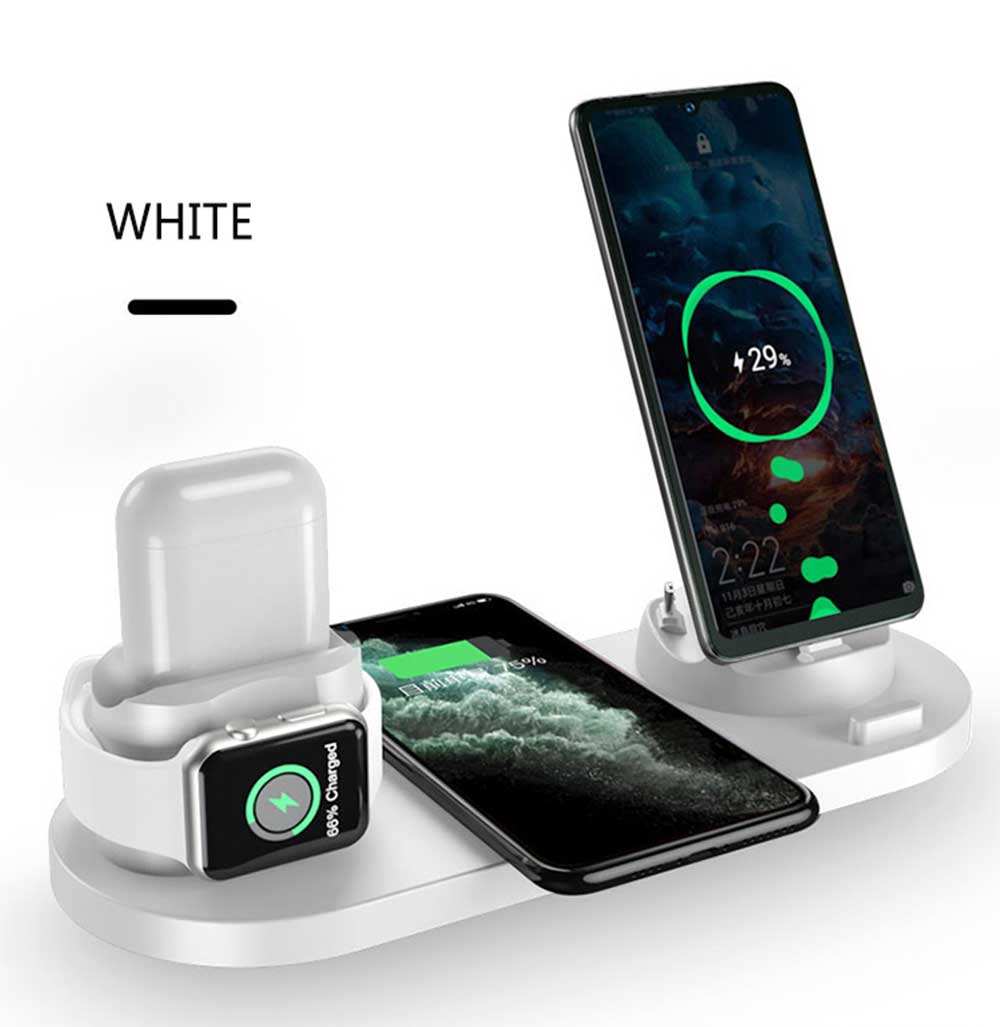 6 in 110W Qi Wireless Charger Dock Station For Iphone Airpods Micro USB Type C Stand Fast Charging 3.0 For Apple Watch Charger