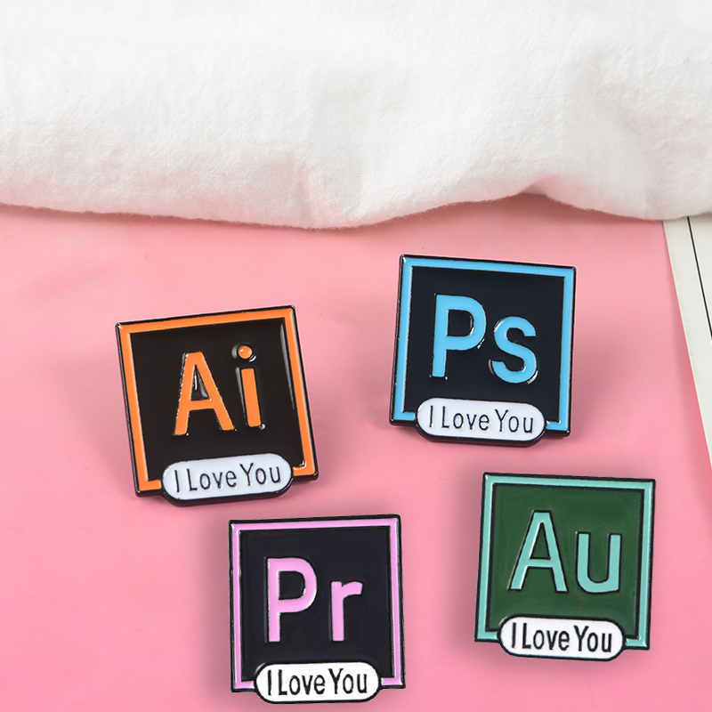 Ai Ps Pr Au Software Icon Lapel Metal Pins Drawing Program Brooches Badges Backpack Accessories Pins Jewelry Gifts For Friends image