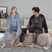 Couple Sleepwear Nightwear Pyjamas Winter Thicken-Homewear Flannel Men Women Sweatshirt