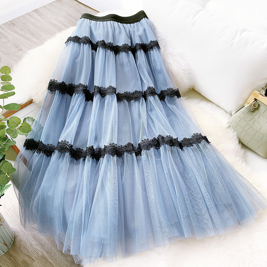 Lace Patchwork Tulle Skirts Elegant Sweet Fairy Long Skirt 2020 New Spring Summer Big Swing Female Mesh Skirt Faldas Saias