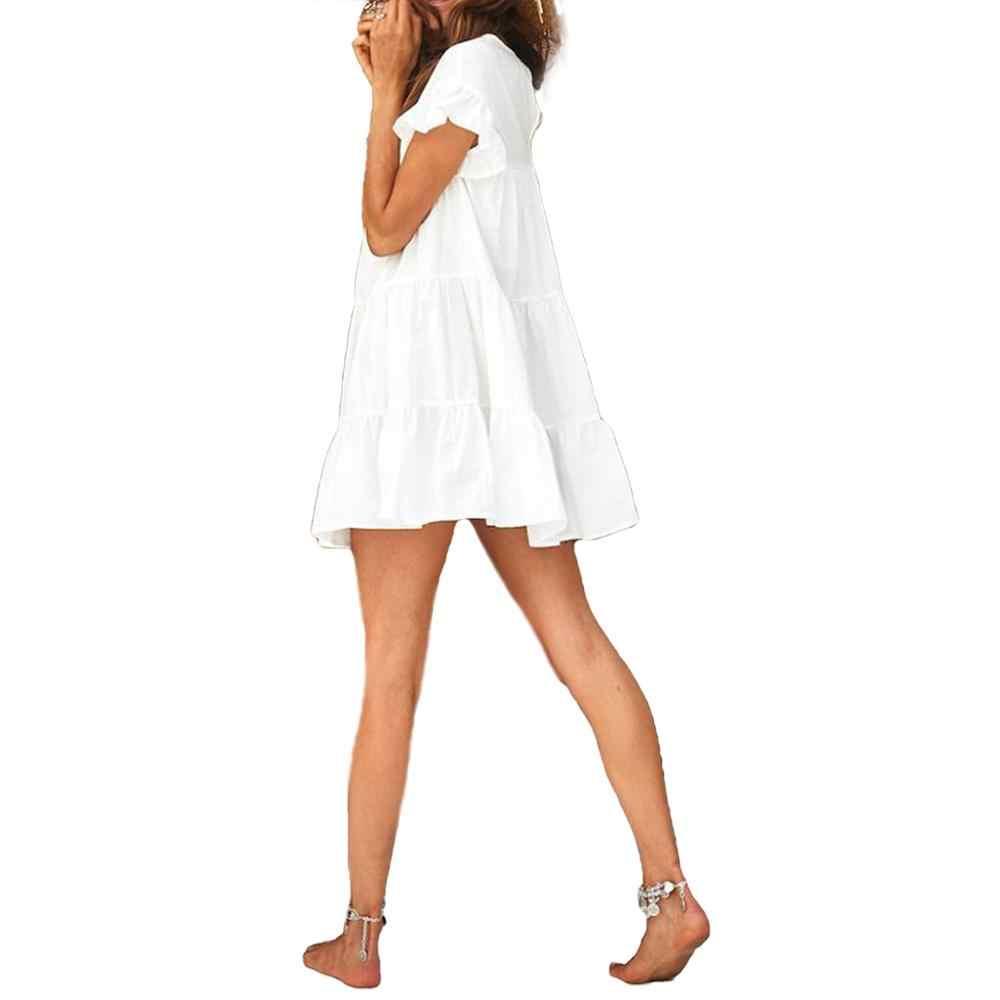Nuevo vestido bohemio informal de verano para mujer a la moda, plisado corto, mangas, vestido de fiesta, vestido veraniego