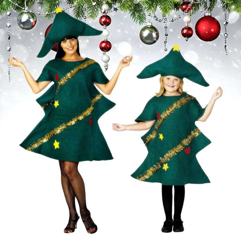 Women's Costume Party With Hat Outfit Kids Novelty Dress Christmas Tree Cosplay Women Dress Stage Clothing Elf Costume