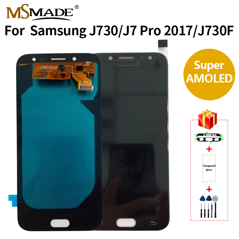 Super AMOLED For Samsung Galaxy <font><b>J7</b></font> <font><b>Pro</b></font> 2017 J730 <font><b>LCD</b></font> Display Touch <font><b>Screen</b></font> Digitizer Assembly <font><b>Replacement</b></font> Parts For SM-J730FM <font><b>LCD</b></font> image