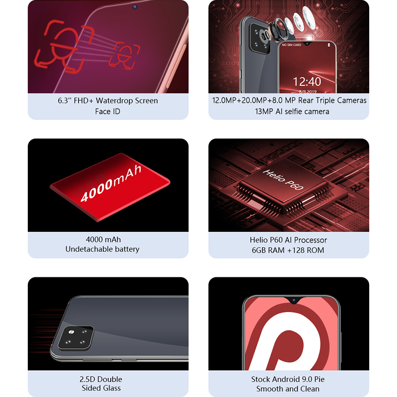 """Cubot X20 Pro 6GB 128GB AI Mode Triple Cameras Android 9.0 Octa Core Helio P60 AI 6.3""""  Waterdrop Screen Face ID 4G Smartphone"""