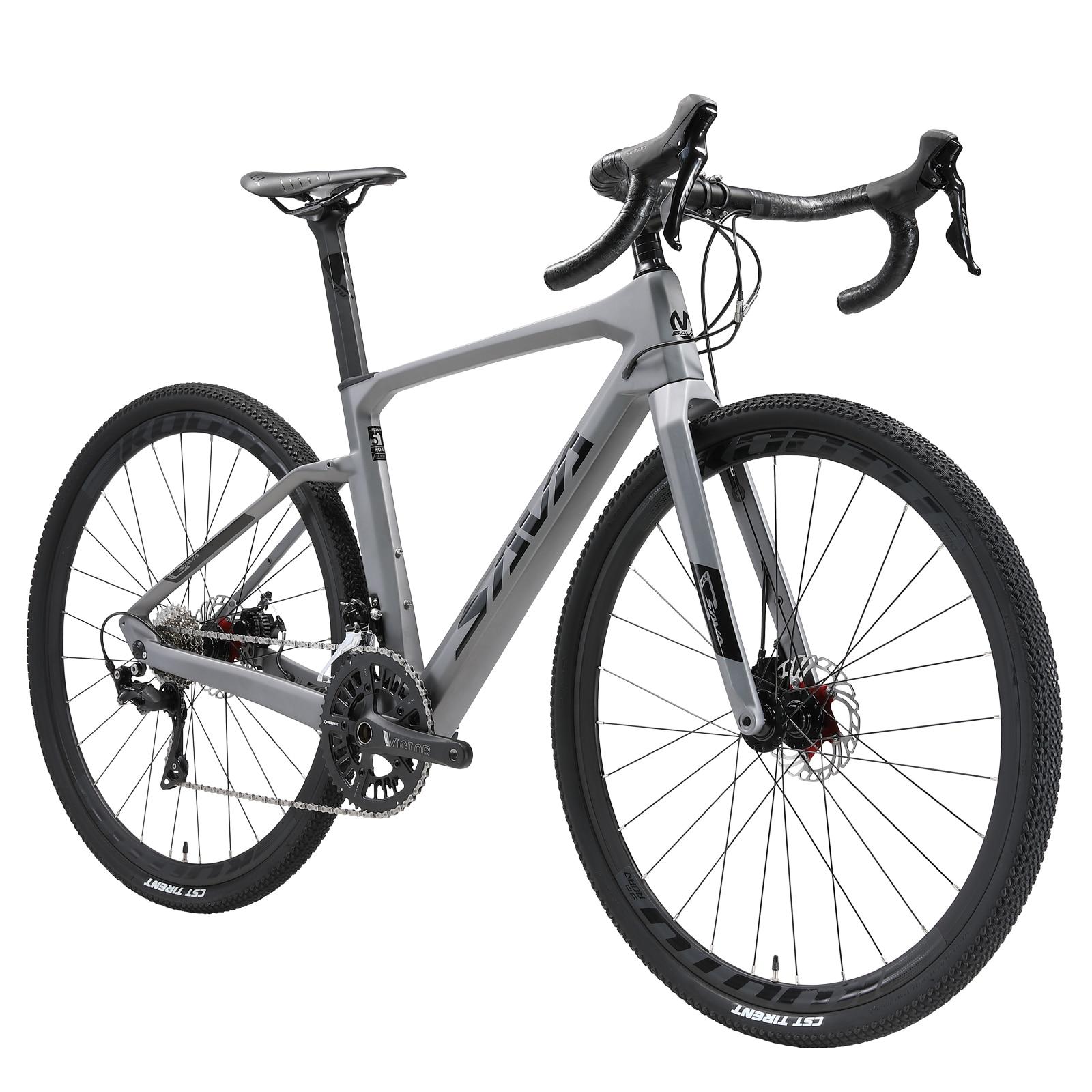 SAVA Carbon Fiber Road Bike Gravel Bike 700x40C R11-R3000 18 Speeds Bicycle with 40c Tires Road Bike Racing Gravel Bike