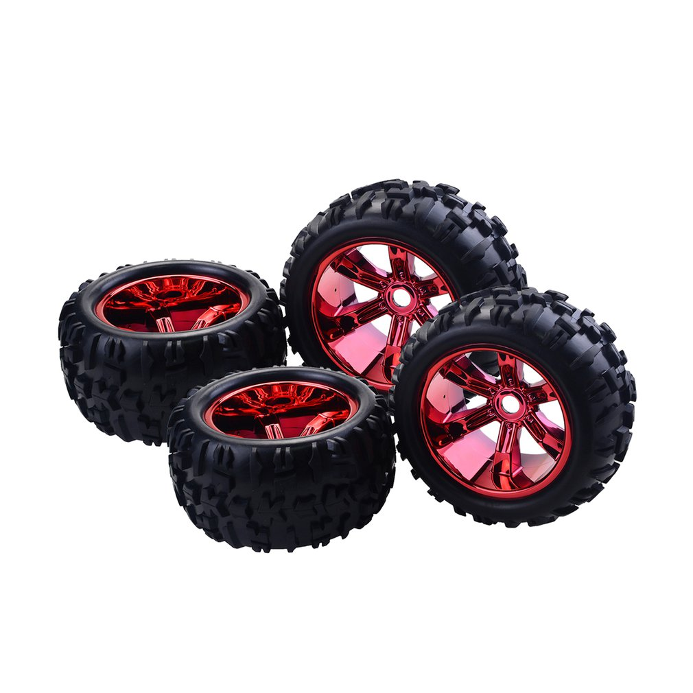 4PCS <font><b>RC</b></font> Car <font><b>Wheel</b></font> Rim Tire for Redcat Hsp Kyosho Hobao Hongnor Team Losi GM HPI <font><b>1/8</b></font> Truggy Monster Truck Rubber Tyre <font><b>17mm</b></font> Hex image