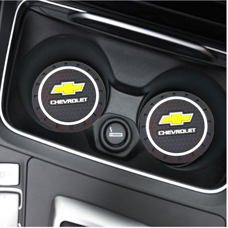2PCS Car Water Cup Bottle Holder Anti-slip Pad Mat Silica Gel For  Chevrolet Colorado Cruze Spark Captiva Malibu Trax Aveo