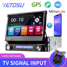 Yetosu Car Stereo Audio Radio Bluetooth 1DIN 7 HD Retractable Touch Monitor MP5 Player SD FMAM USB Rear Camera RDS DVD TV GPS