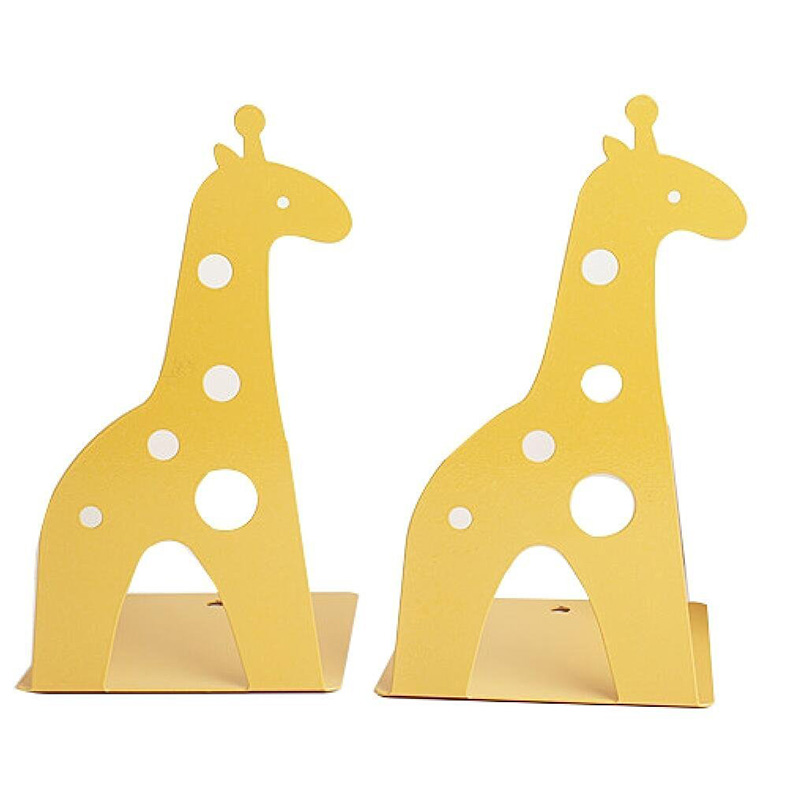 Hot Cute Cartoon Giraffe Shape Non Skid Bookends Bookends For Shelves For Kids Gift Decoration Art Gift (Yellow)