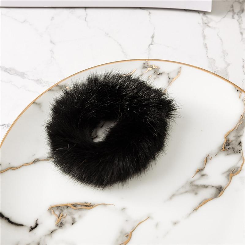 Мягкая Плюшевая повязка для волос резинки для волос натуральный мех кроличья шерсть мягкие эластичные резинки для волос для девочек однотонный цветной хвост резинки для волос для женщин - Цвет: Черный