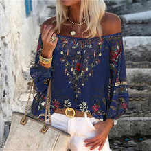 Floral Print Blouse Women Lace Thin Long Sleeve Off Shoulder Summer Tops Shirts Women Blusa Feminina Plus Size Women Blouses