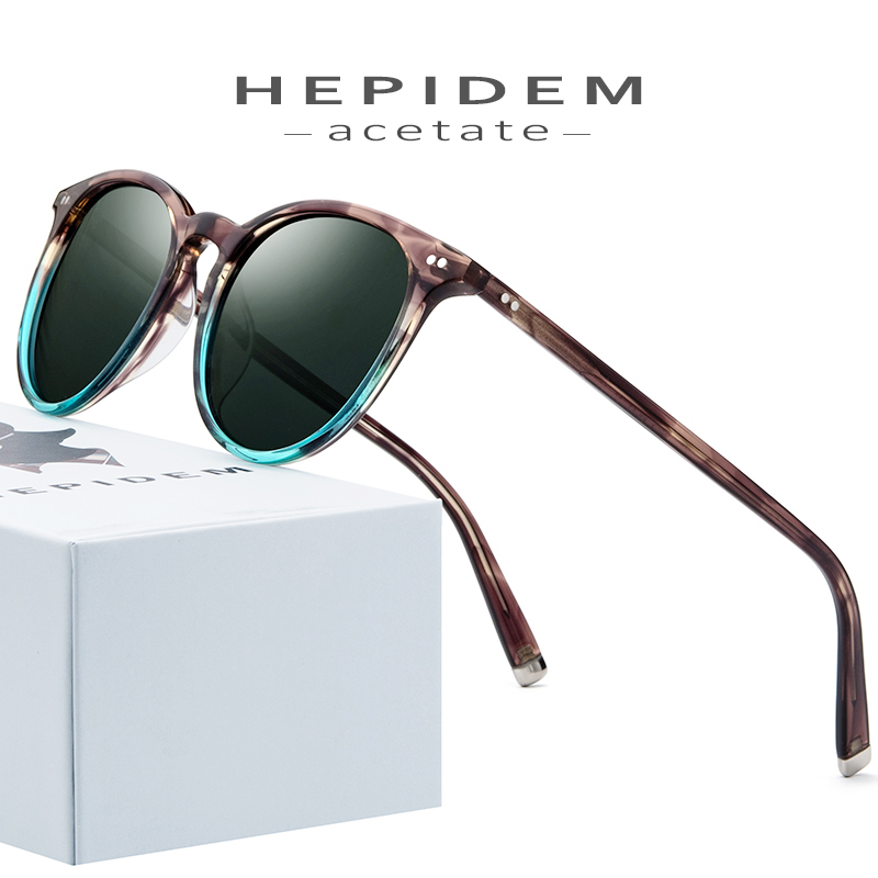 HEPIDEM Polarized Sunglasses Classical Brand Designer Gregory Peck Vintage Men Women Round Sun Glasses 100% UV400 5288 9122
