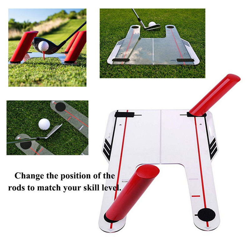 PVC Golf Alignment Trainer Help Swing Training Speed Trap Practice Base 4 Speed Golf Accessories Mirror Golf Tool With Bag