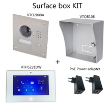 DH logo Multi-Language Video intercom KIT Includes VTO2000A Surface box or Flush box, VTH5221DW,PoE Power adapter dh 4ch analog distributor vtna1040b support 60 cascading video intercom accessory export version without logo