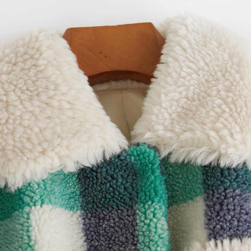 100% 本物の毛皮のコート女性の冬暖かいジャケット女性の洋服 2020 韓国ヴィンテージロング羊せん断コートエレガントな毛皮トップ 331006