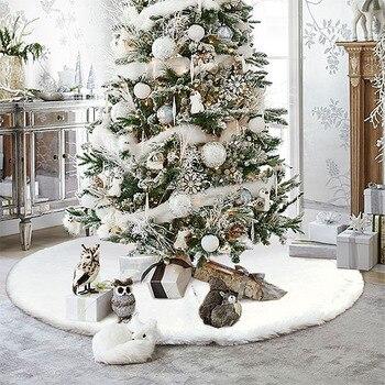 1pc White Christmas Tree Skirt Plush Faux Fur Carpet Xmas Floor Mat Ornaments Merry Christmas New Year Christmas Tree Decoration christmas tree 1 8 m 180cm white christmas tree decoration tree decoration packages suit tree