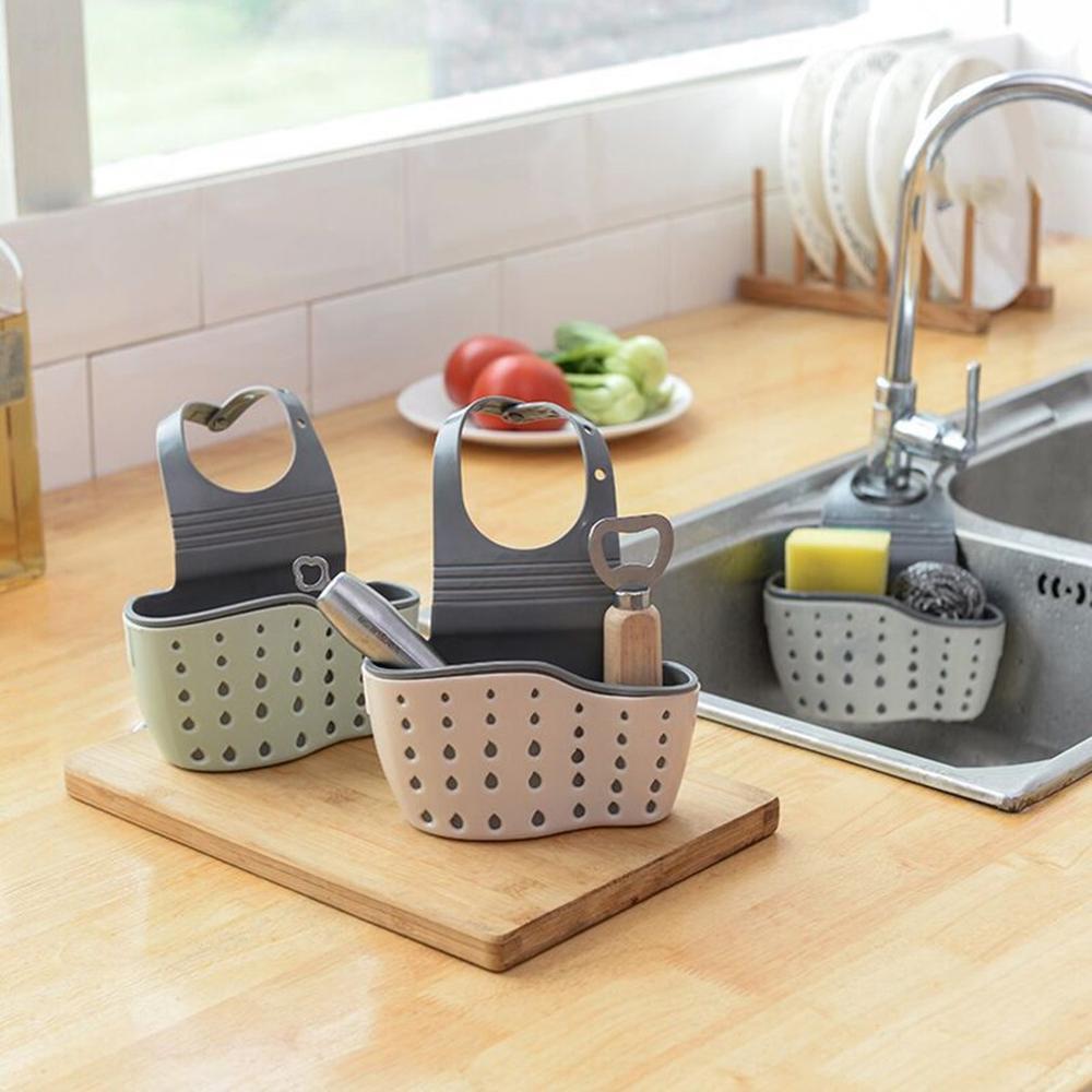 Kitchen Utensils Sink Double Drain Bag Storage Rack For Sponge Soap Holder Pool Storage Supplies Hanging Basket Drain Rack