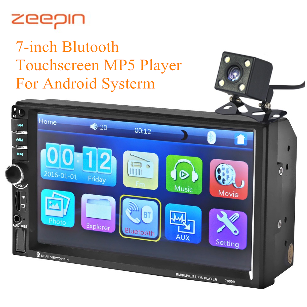 Zeepin 7060B Bluetooth Auto MP5 Player 7-inch HD Touchscreen USB Charging Android Systerm Car Multimedia System with Rear Camera