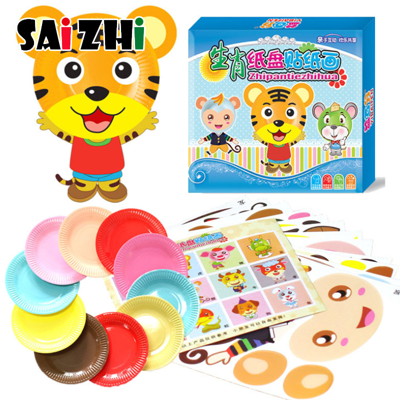 Saizhi 12PCS Color Paper Plates Painting Toys Cartoon DIY Handmade Materials Package Kindergarten Kid's Puzzle Stickers Tray