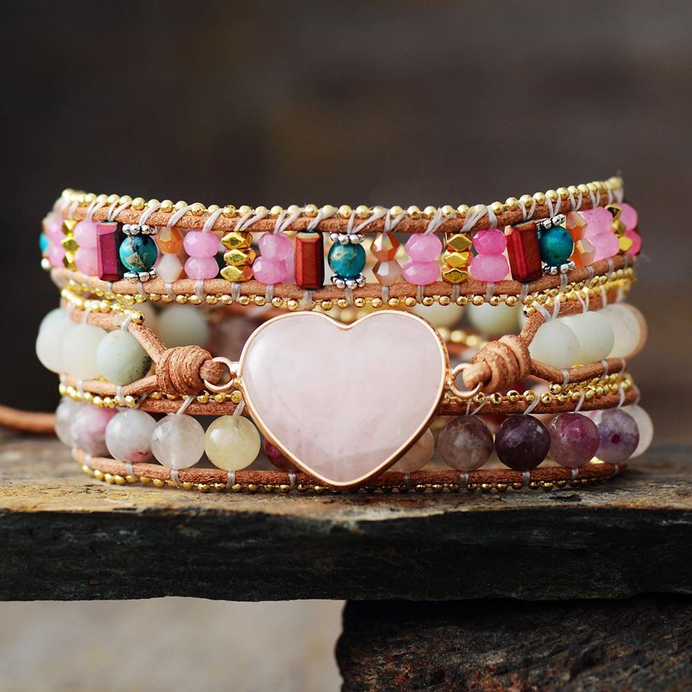 Романтические Розовые кожаные браслеты, розовое кварце, турмалиновое сердце, 3 пряди, Браслет-манжета ручной работы, ювелирные изделия для д...