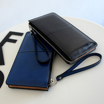Oil Wax Leather Zipper Wallet  2