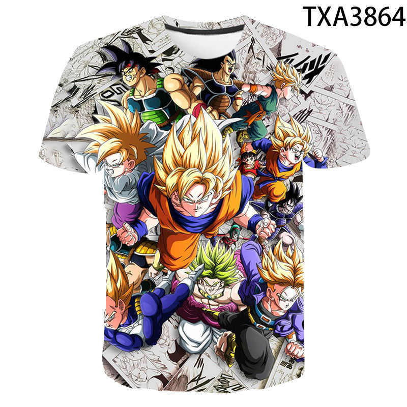New Dragon Ball Z 3D Cetak T Shirt Pria Wanita Anak Super Saiyan T-Shirt Goku 3d Atasan DBZ Boy Girl kids Cool Tees Streetwear