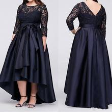 Темно синее женское платье с высоким кружевом и рукавом три