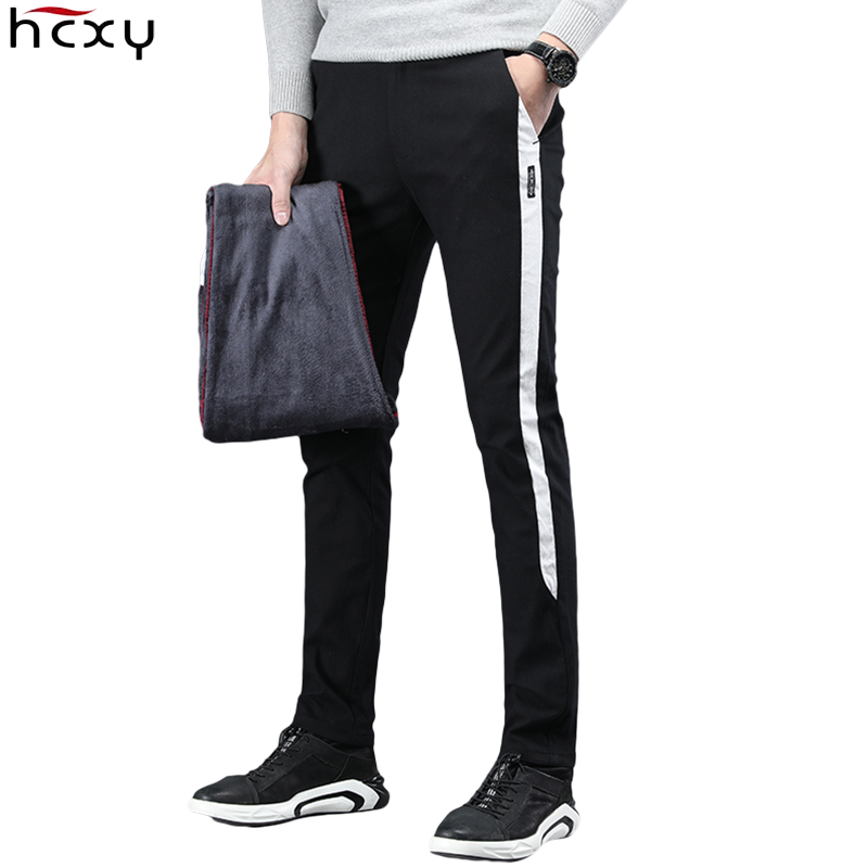 HCXY 2019 Winter Autumn Men's Smart Casual Pants Men Slim Fit Warm Pencil Pants Male Micro Stretch Plus Velvet Trousers For Men