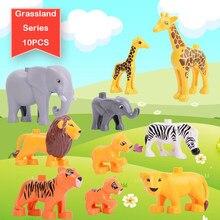 Duploed animal 6 série 51 tipos acessórios conjunto tamanho grande blocos de construção diy brinquedos tijolos educativos presente natal crianças