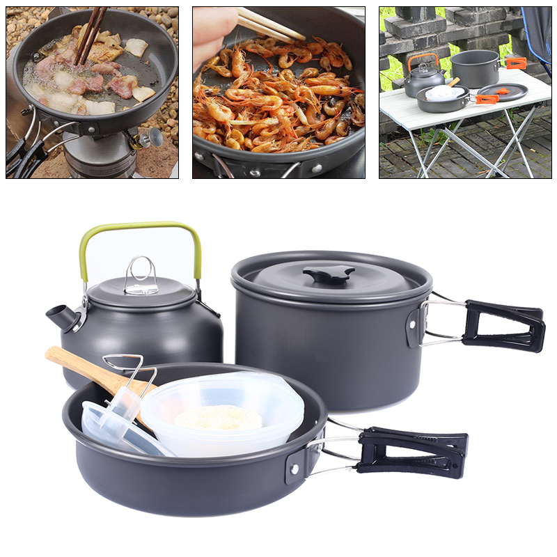 Bouilloire pique-nique ustensiles de cuisine Camping Pot bol extérieur Portable 2-3 personnes sont appropriées pelles en bois poêle antiadhésive Mini ensemble de cuisson